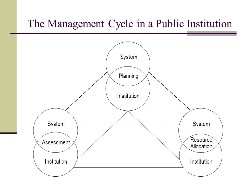 The Management Cycle in a Public Institution System Planning Institution System Institution Resource Allocation System Assessment Institution