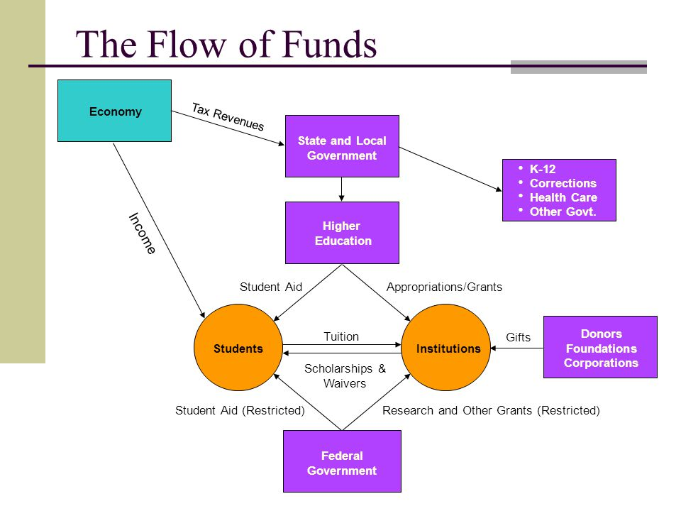 The Flow of Funds Economy State and Local Government Federal Government Donors Foundations Corporations Tax Revenues Appropriations/GrantsStudent Aid Tuition Scholarships & Waivers Research and Other Grants (Restricted)Student Aid (Restricted) Gifts Income K-12 Corrections Health Care Other Govt.