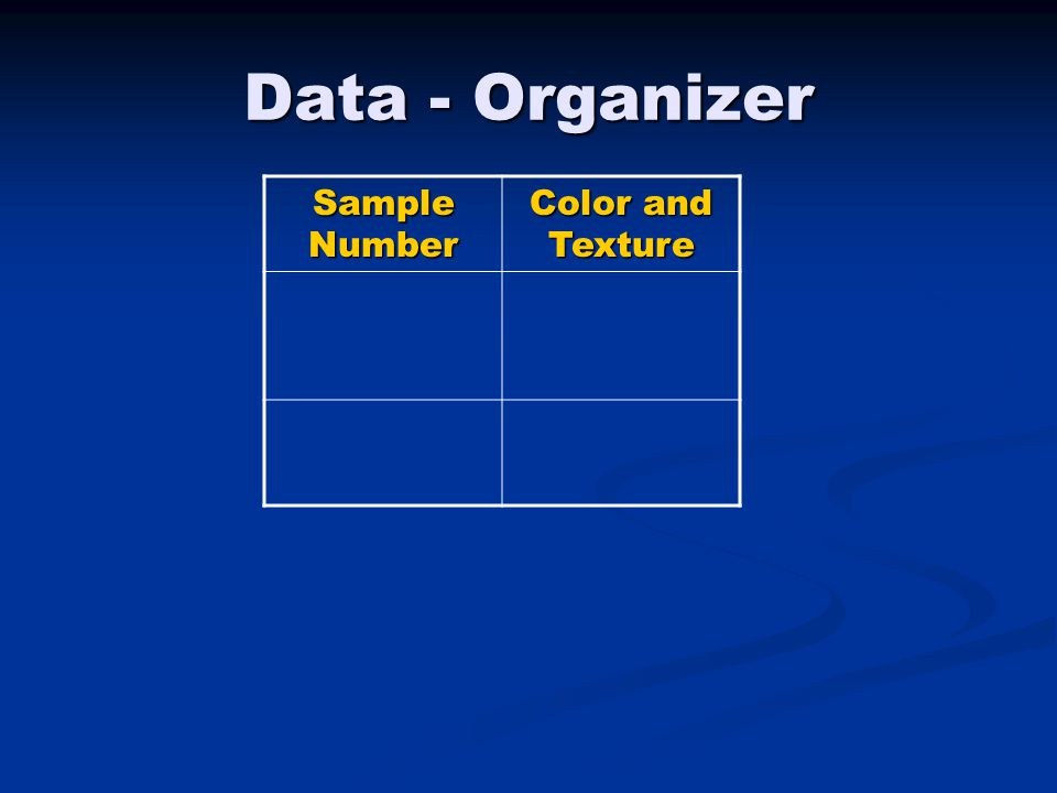 Data - Organizer Sample Number Color and Texture