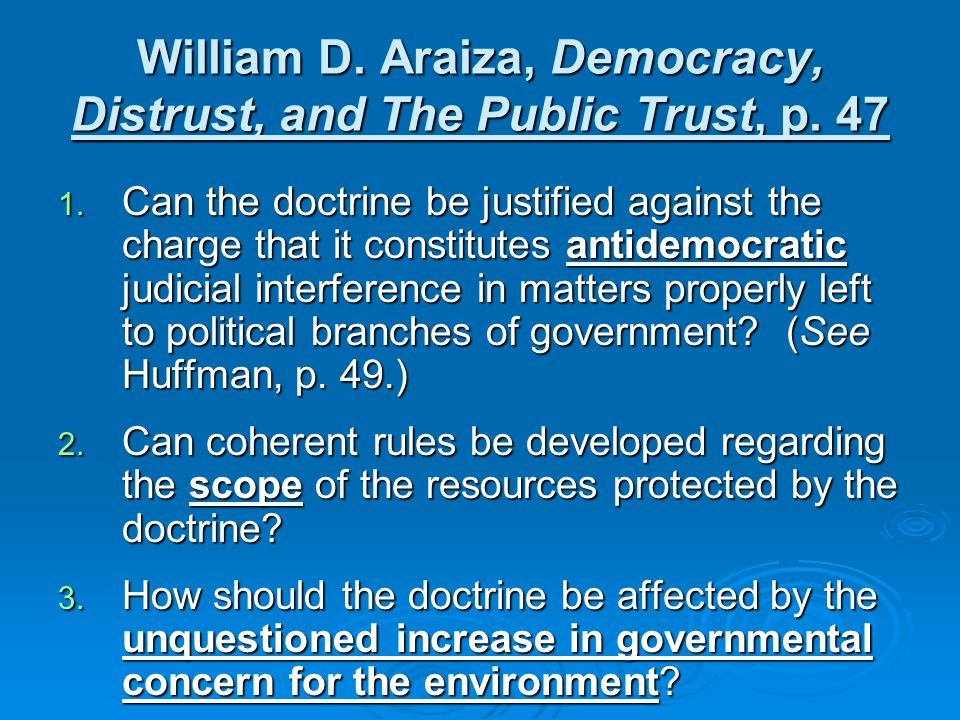 William D. Araiza, Democracy, Distrust, and The Public Trust, p.