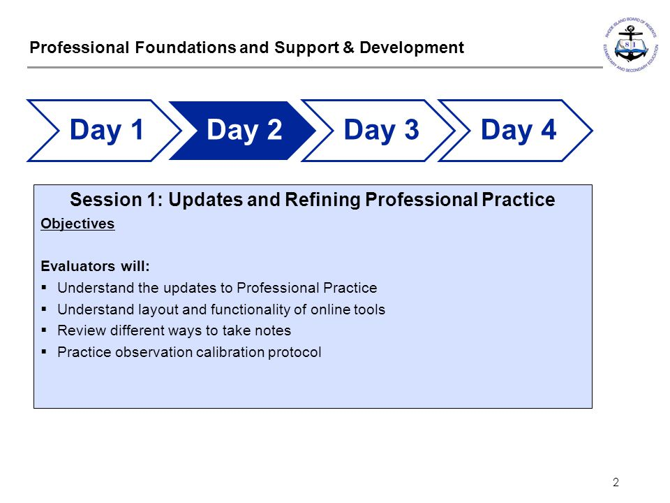 2 Professional Foundations and Support & Development Session 1: Updates and Refining Professional Practice Objectives Evaluators will:  Understand th