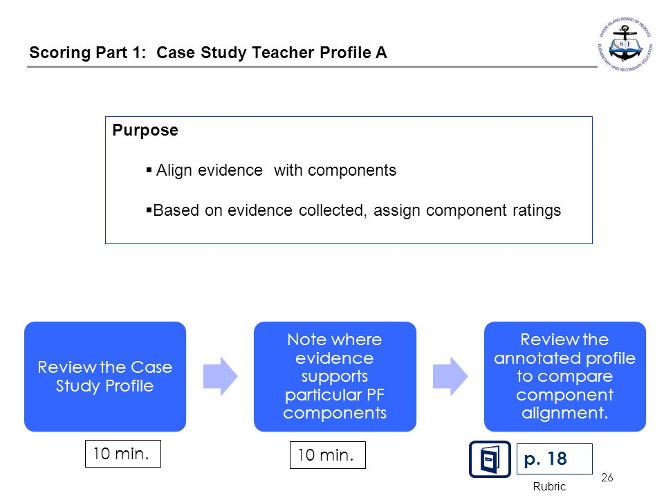 26 Scoring Part 1: Case Study Teacher Profile A Review the Case Study Profile Note where evidence supports particular PF components Review the annotat