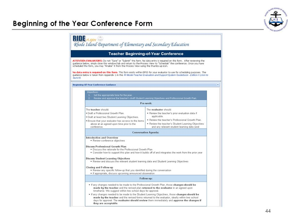 44 Beginning of the Year Conference Form