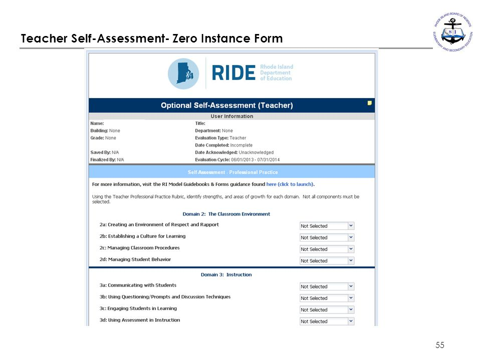 55 Teacher Self-Assessment- Zero Instance Form
