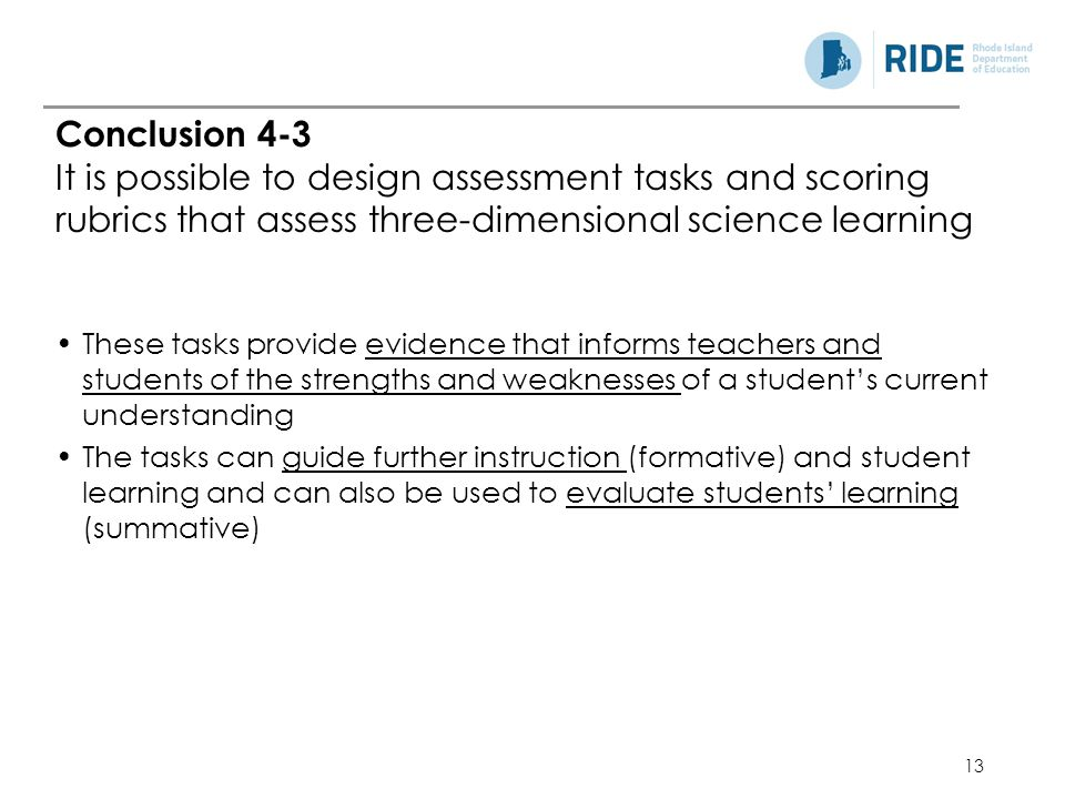 13 These tasks provide evidence that informs teachers and students of the strengths and weaknesses of a student's current understanding The tasks can guide further instruction (formative) and student learning and can also be used to evaluate students' learning (summative) Conclusion 4-3 It is possible to design assessment tasks and scoring rubrics that assess three-dimensional science learning