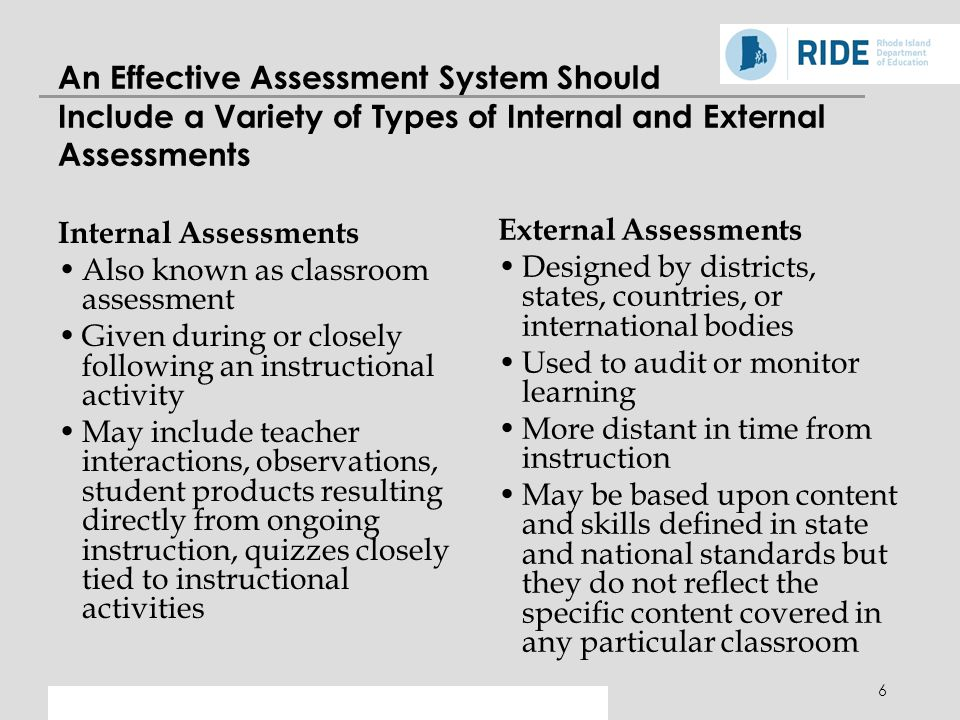6 An Effective Assessment System Should Include a Variety of Types of Internal and External Assessments Internal Assessments Also known as classroom assessment Given during or closely following an instructional activity May include teacher interactions, observations, student products resulting directly from ongoing instruction, quizzes closely tied to instructional activities External Assessments Designed by districts, states, countries, or international bodies Used to audit or monitor learning More distant in time from instruction May be based upon content and skills defined in state and national standards but they do not reflect the specific content covered in any particular classroom
