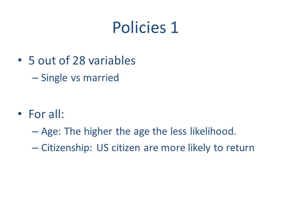 Policies 1 5 out of 28 variables – Single vs married For all: – Age: The higher the age the less likelihood. – Citizenship: US citizen are more likely