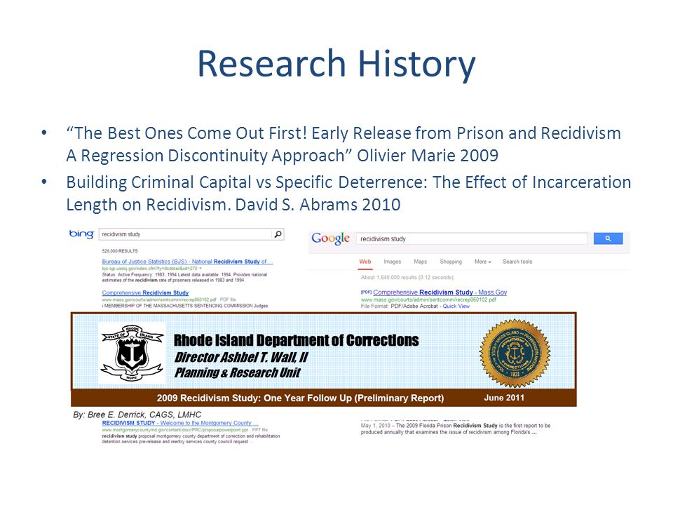"Research History ""The Best Ones Come Out First! Early Release from Prison and Recidivism A Regression Discontinuity Approach"" Olivier Marie 2009 Build"