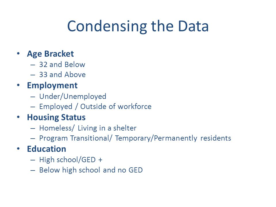 Condensing the Data Age Bracket – 32 and Below – 33 and Above Employment – Under/Unemployed – Employed / Outside of workforce Housing Status – Homeless/ Living in a shelter – Program Transitional/ Temporary/Permanently residents Education – High school/GED + – Below high school and no GED