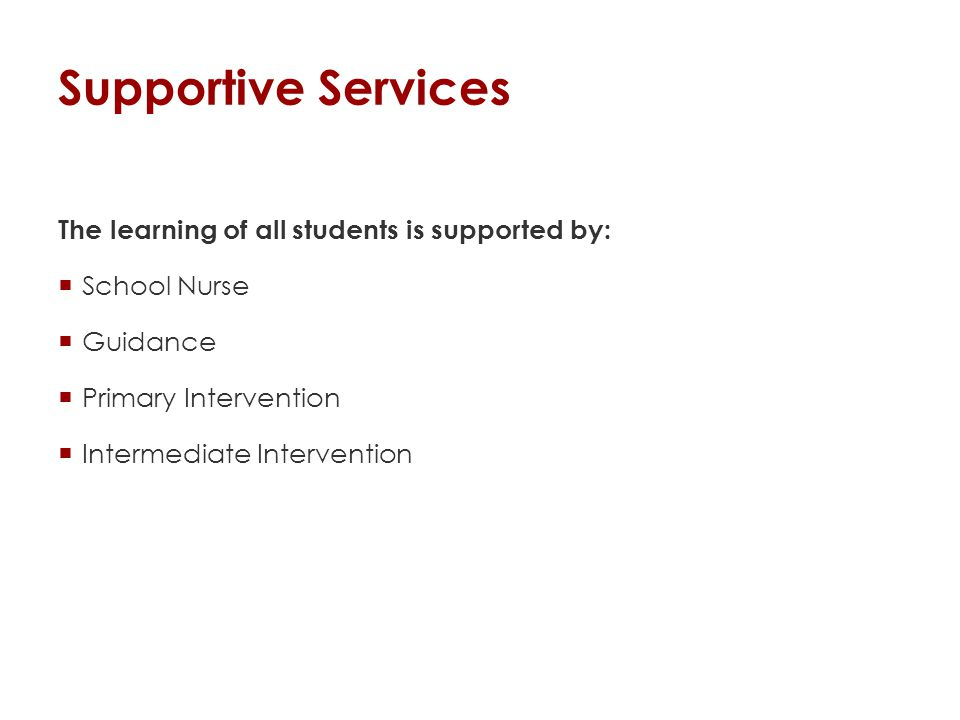 Supportive Services The learning of all students is supported by:  School Nurse  Guidance  Primary Intervention  Intermediate Intervention