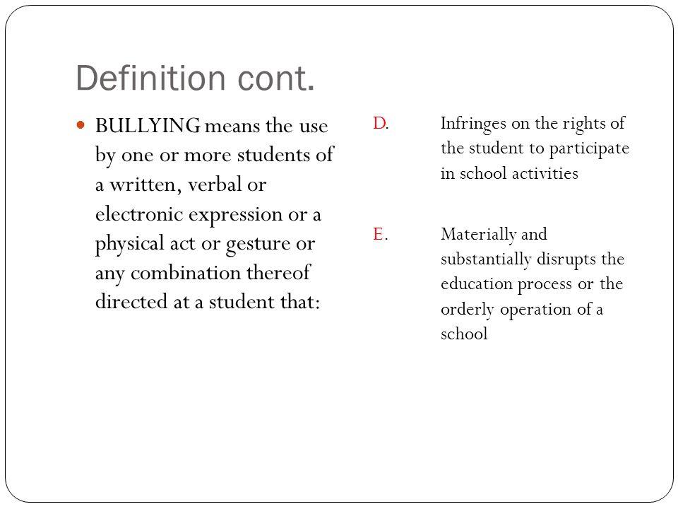 Definition cont.