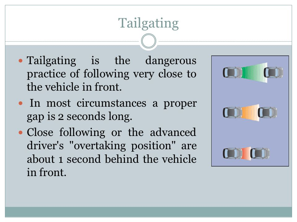 Tailgating Tailgating is the dangerous practice of following very close to the vehicle in front. In most circumstances a proper gap is 2 seconds long.