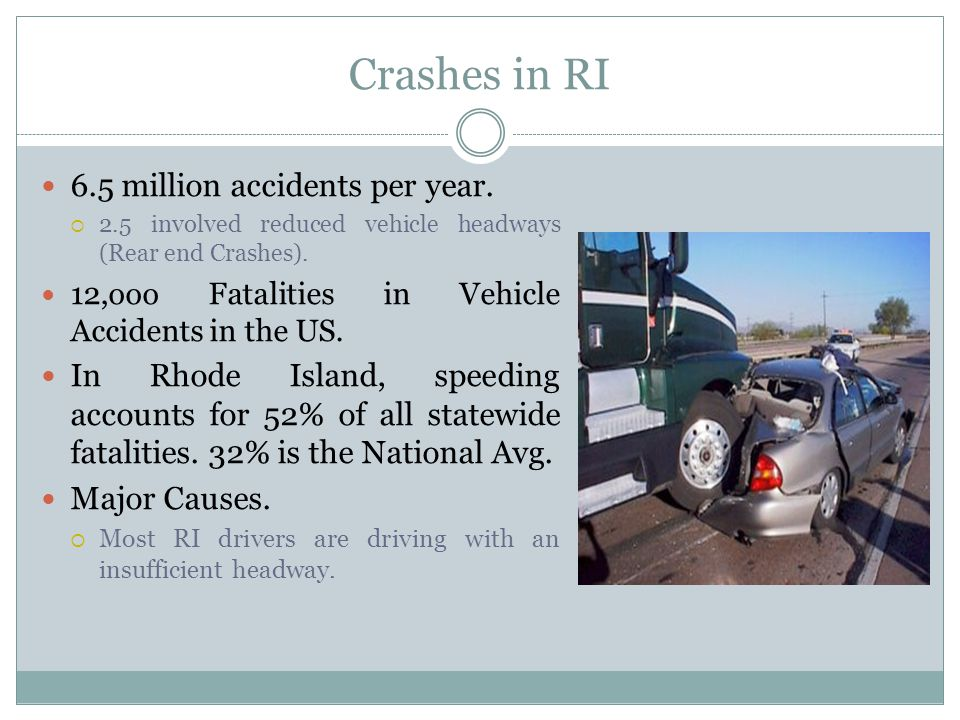 Crashes in RI 6.5 million accidents per year.  2.5 involved reduced vehicle headways (Rear end Crashes). 12,ooo Fatalities in Vehicle Accidents in th