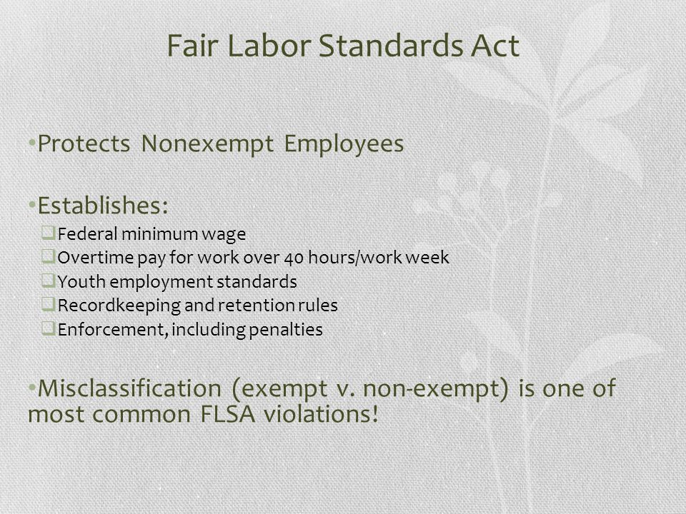 Fair Labor Standards Act Protects Nonexempt Employees Establishes:  Federal minimum wage  Overtime pay for work over 40 hours/work week  Youth employment standards  Recordkeeping and retention rules  Enforcement, including penalties Misclassification (exempt v.
