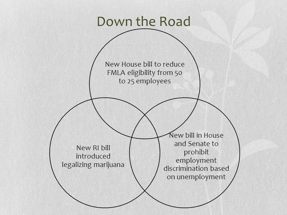Down the Road New House bill to reduce FMLA eligibility from 50 to 25 employees New bill in House and Senate to prohibit employment discrimination based on unemployment New RI bill introduced legalizing marijuana