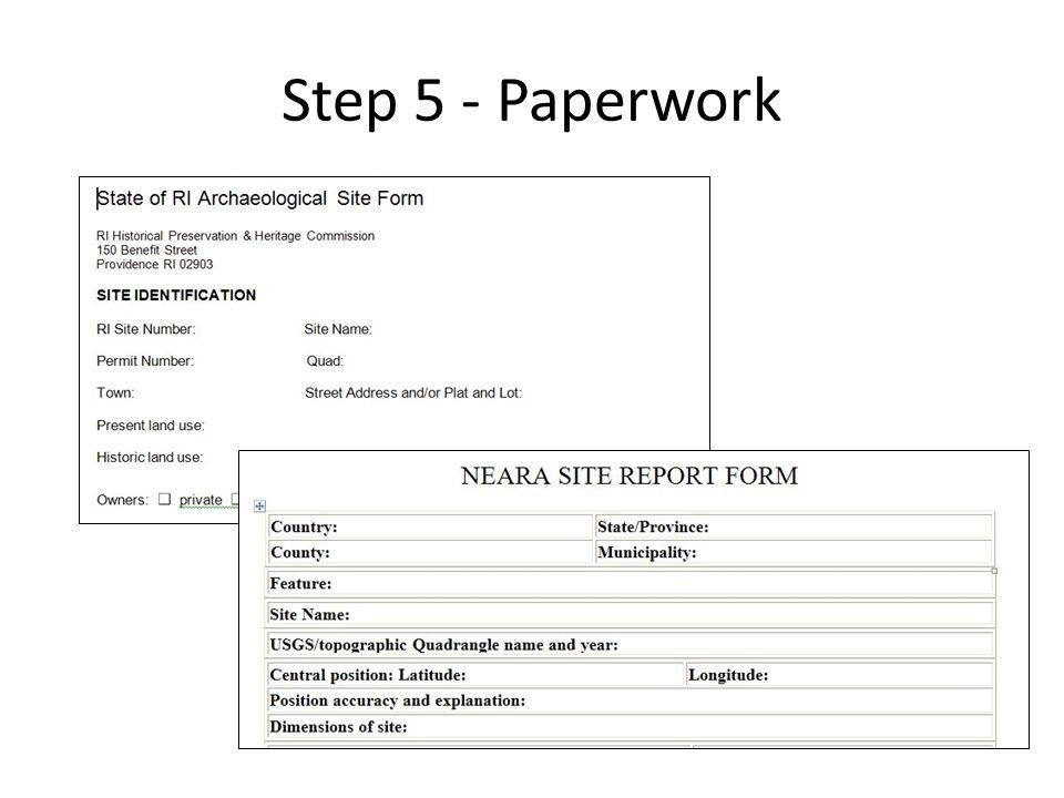 Step 5 - Paperwork