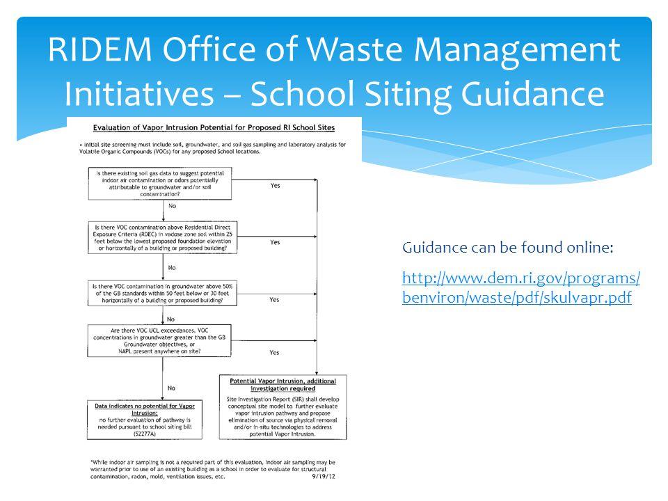 RIDEM Office of Waste Management Initiatives – School Siting Guidance Guidance can be found online: http://www.dem.ri.gov/programs/ benviron/waste/pdf/skulvapr.pdf