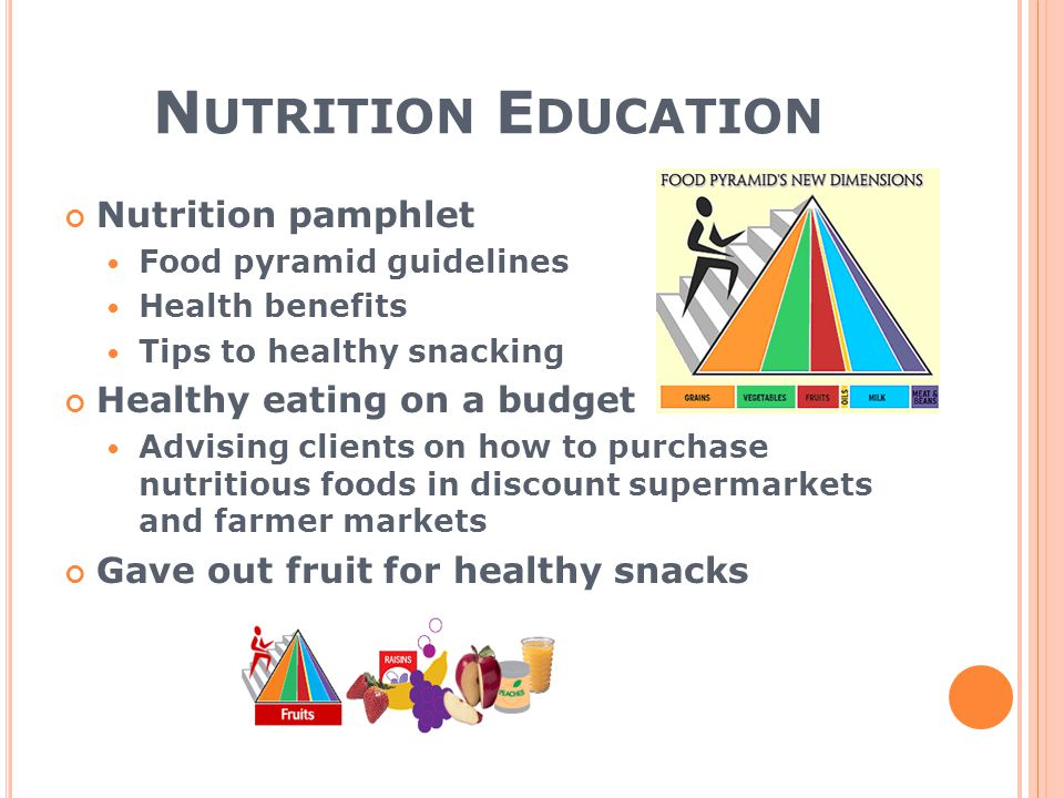 N UTRITION E DUCATION Nutrition pamphlet Food pyramid guidelines Health benefits Tips to healthy snacking Healthy eating on a budget Advising clients on how to purchase nutritious foods in discount supermarkets and farmer markets Gave out fruit for healthy snacks
