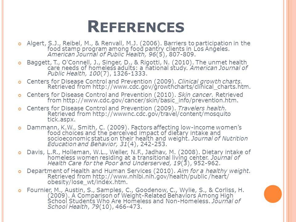 R EFERENCES Algert, S.J., Reibel, M., & Renvall, M.J.