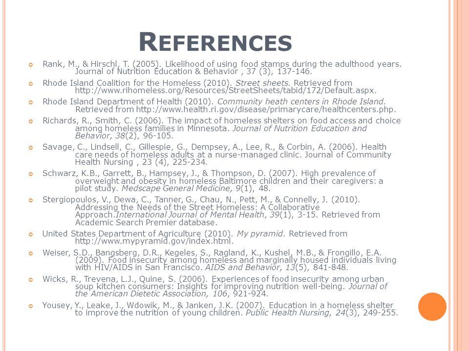 R EFERENCES Rank, M., & Hirschl, T. (2005).