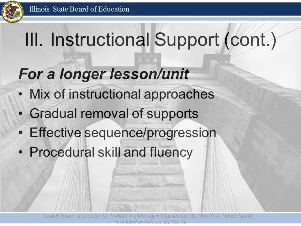 III. Instructional Support (cont.) For a longer lesson/unit Mix of instructional approaches Gradual removal of supports Effective sequence/progression