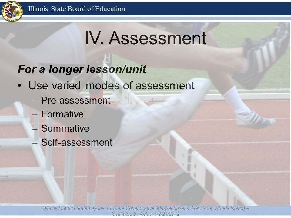 IV. Assessment For a longer lesson/unit Use varied modes of assessment –Pre-assessment –Formative –Summative –Self-assessment Quality Rubric created b