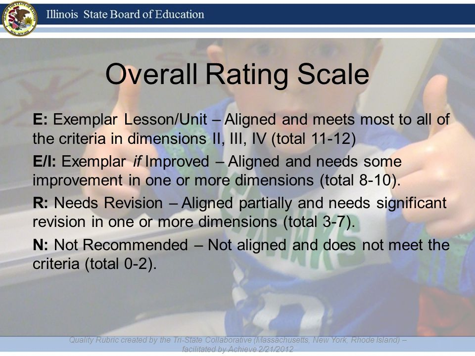 Overall Rating Scale E: Exemplar Lesson/Unit – Aligned and meets most to all of the criteria in dimensions II, III, IV (total 11-12) E/I: Exemplar if Improved – Aligned and needs some improvement in one or more dimensions (total 8-10).