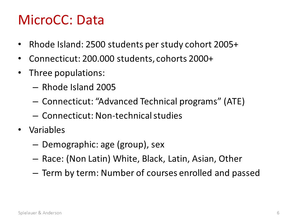 MicroCC: Model Synthetic starting population sampled from the initial distribution of students by province/program, cohort, age group, sex, race, and full-/part-time status Students followed over 4.5 years (9 terms) Four decisions per term – (Re-)enrolment decision – Fulltime / part-time decision – Number of courses enrolled (1-3; 4-10) – Courses passed Models estimated separately by sex and province/program: 42 logistic (& ordered logit) models Success: 12 courses passed (proxy for transfer-readiness) 7Spielauer & Anderson