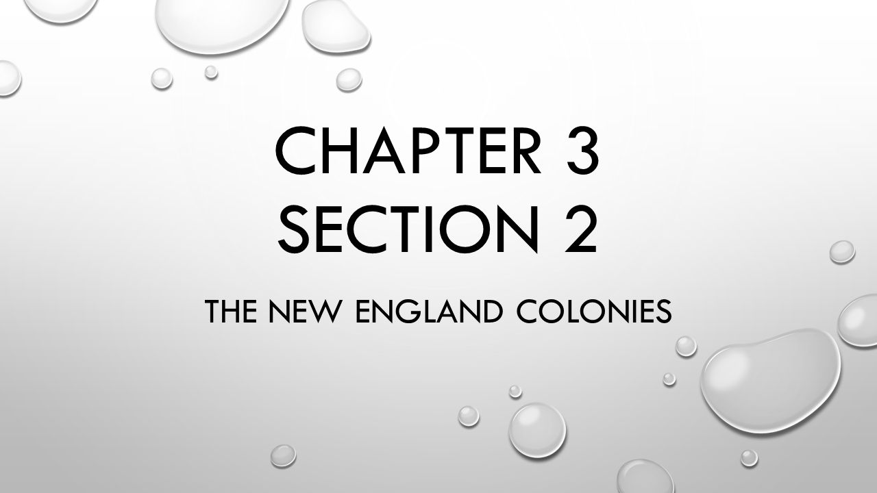 CHAPTER 3 SECTION 2 THE NEW ENGLAND COLONIES