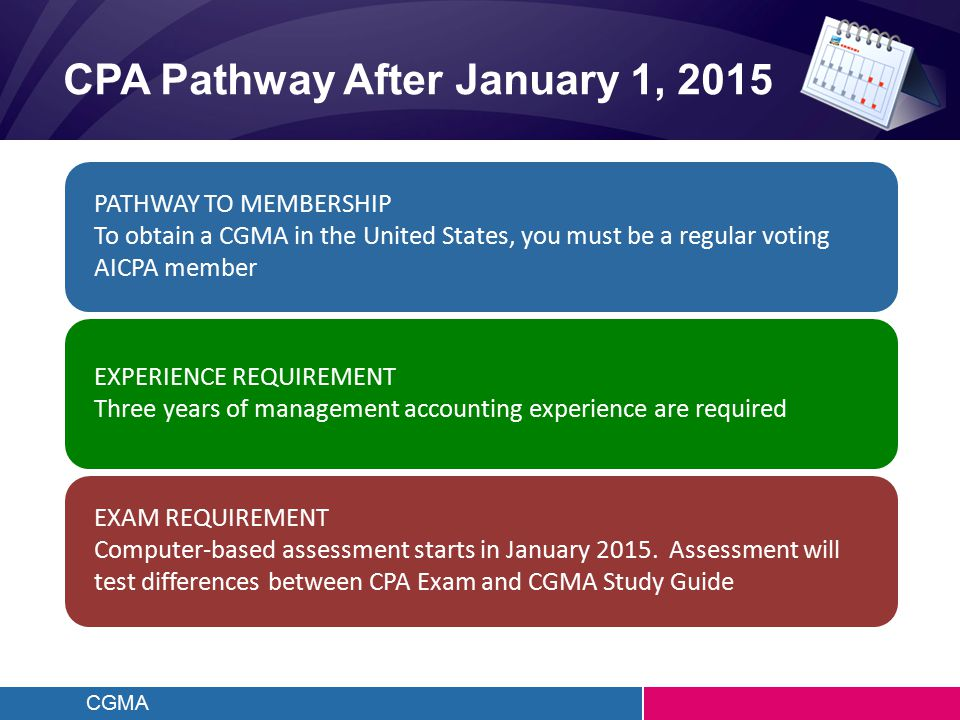 CGMA CPA Pathway After January 1, 2015 PATHWAY TO MEMBERSHIP To obtain a CGMA in the United States, you must be a regular voting AICPA member EXPERIEN