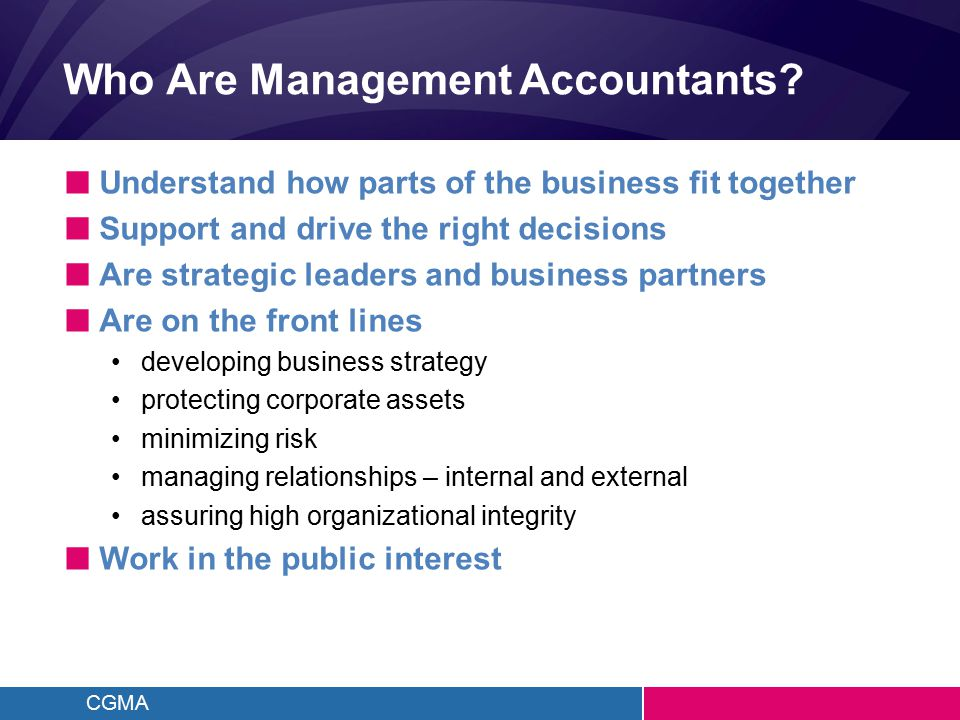 CGMA The CPA's Commitment to the Public Interest Management Accounting Contribution Public Interest Economy Sector Company Finance Team Management Accountant 8