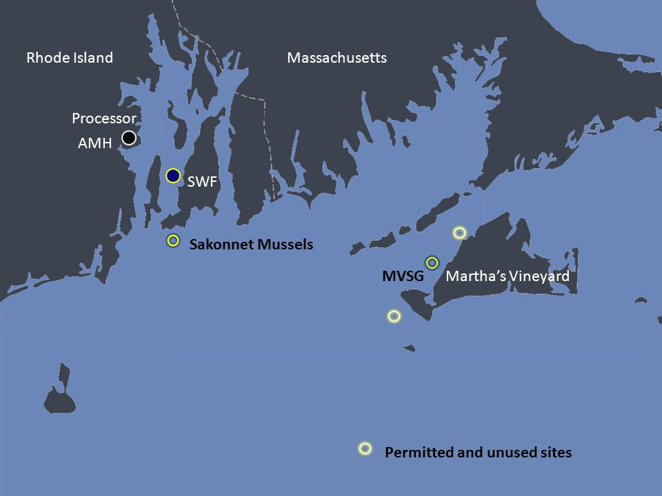 Rhode Island Martha's Vineyard SWF AMH Processor Sakonnet Mussels MVSG Permitted and unused sites Massachusetts