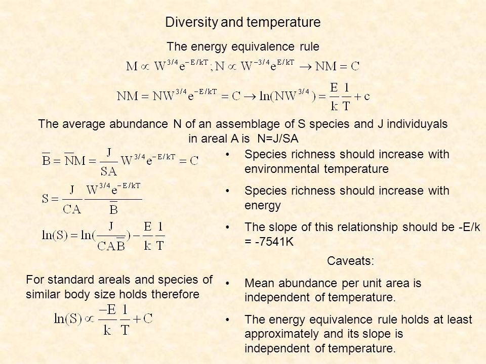 Diversity and temperature The energy equivalence rule The average abundance N of an assemblage of S species and J individuyals in areal A is N=J/SA Fo