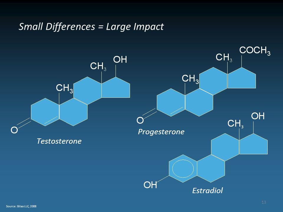 13 Source: Bilao LLC, 2008 Small Differences = Large Impact Testosterone Progesterone Estradiol