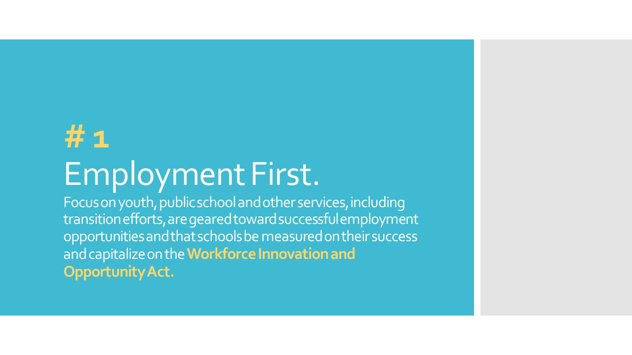 # 1 Employment First.