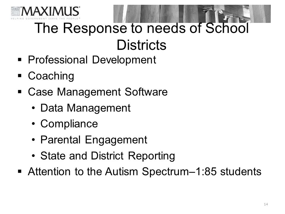 The Response to needs of School Districts  Professional Development  Coaching  Case Management Software Data Management Compliance Parental Engagem