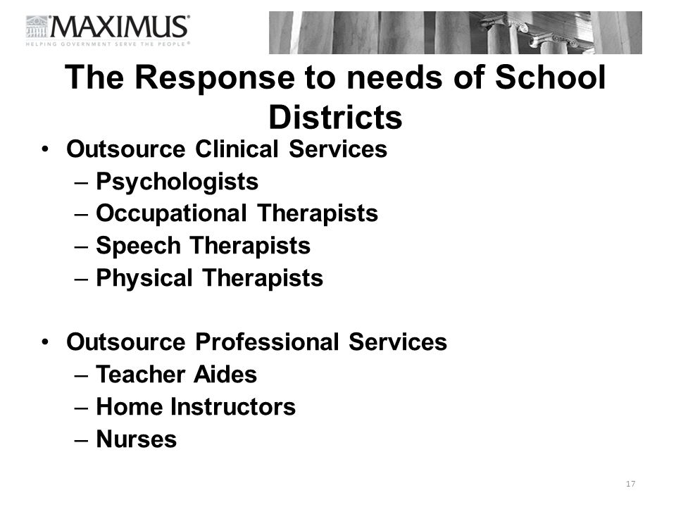 The Response to needs of School Districts Outsource Clinical Services –Psychologists –Occupational Therapists –Speech Therapists –Physical Therapists