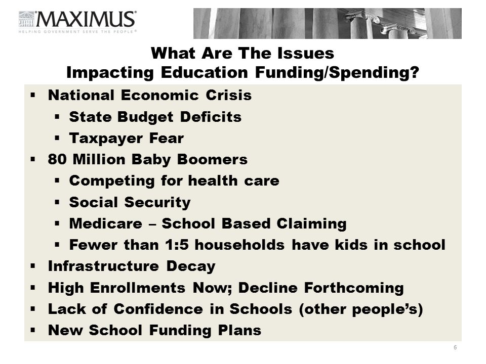 7 What Are The Issues Impacting Education Funding/Spending.