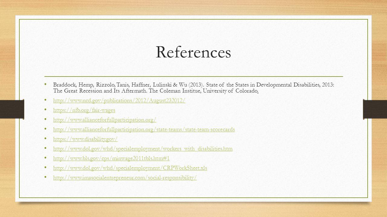 References Braddock, Hemp, Rizzolo, Tanis, Haffner, Lulinski & Wu (2013).