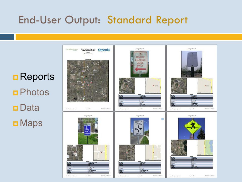 End-User Output: Standard Report  Reports  Photos  Data  Maps