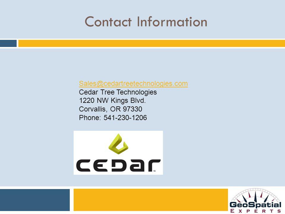 Sales@cedartreetechnologies.com Cedar Tree Technologies 1220 NW Kings Blvd.