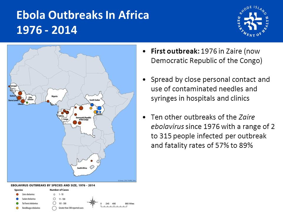 Ebola Outbreaks In Africa 1976 - 2014 First outbreak: 1976 in Zaire (now Democratic Republic of the Congo) Spread by close personal contact and use of contaminated needles and syringes in hospitals and clinics Ten other outbreaks of the Zaire ebolavirus since 1976 with a range of 2 to 315 people infected per outbreak and fatality rates of 57% to 89%