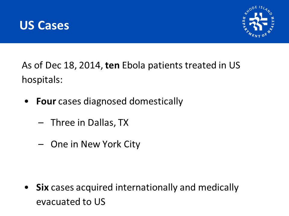US Cases As of Dec 18, 2014, ten Ebola patients treated in US hospitals: Four cases diagnosed domestically –Three in Dallas, TX –One in New York City