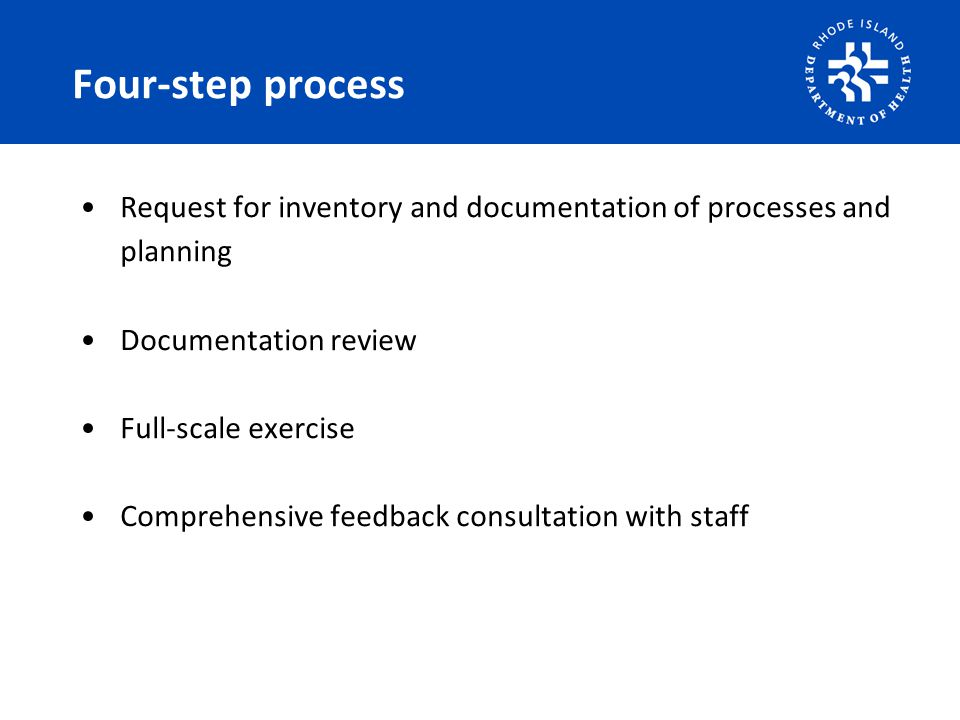 Four-step process Request for inventory and documentation of processes and planning Documentation review Full-scale exercise Comprehensive feedback consultation with staff