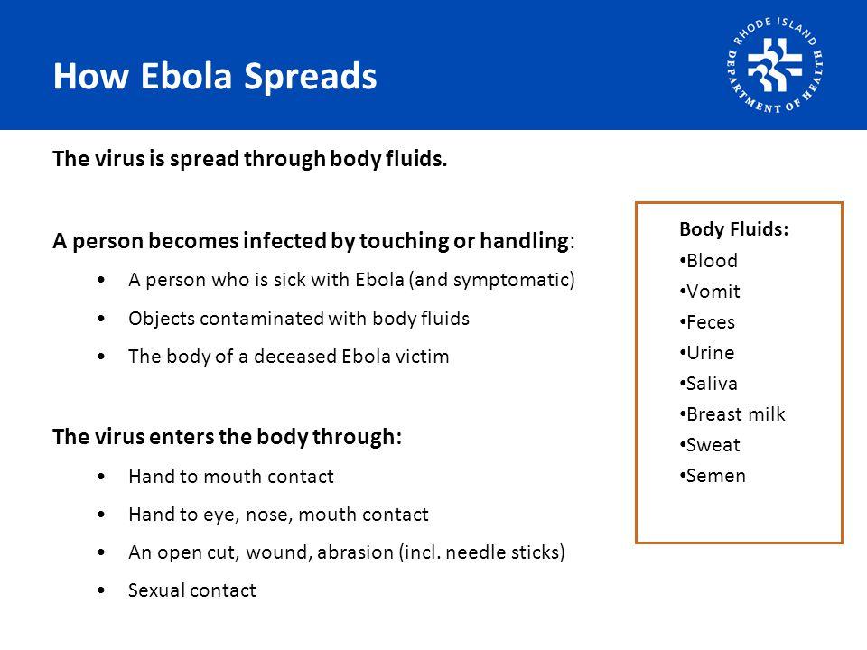 How Ebola Spreads The virus is spread through body fluids.