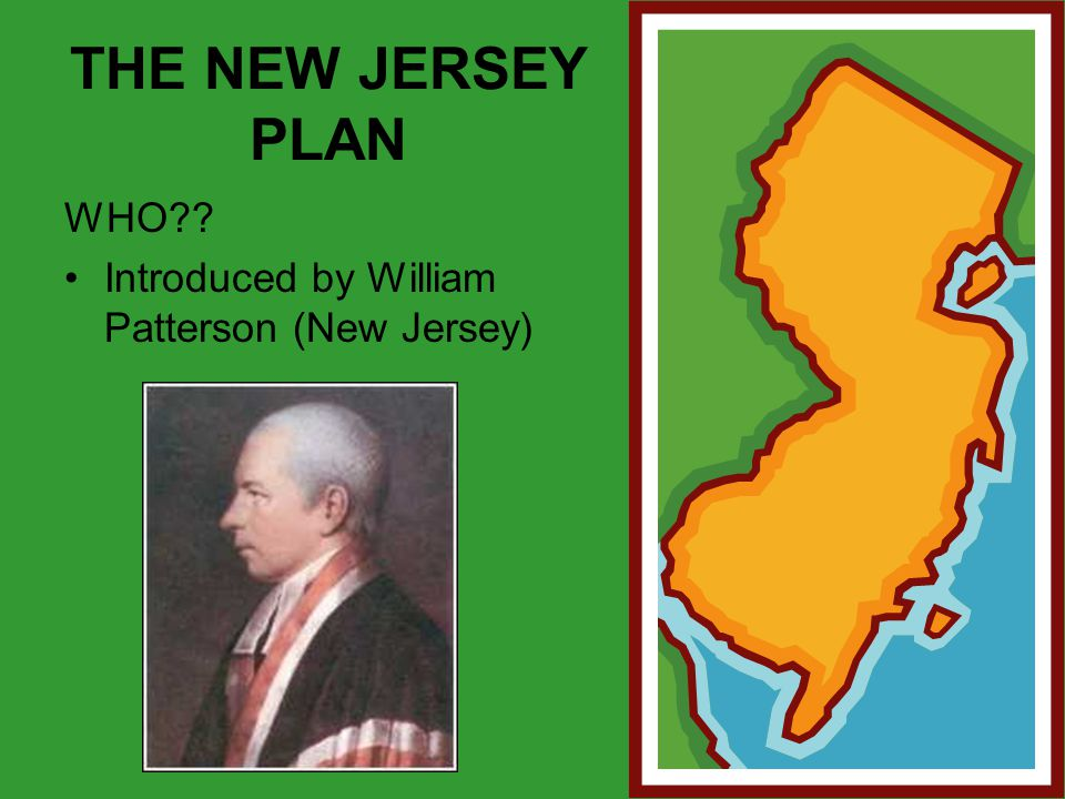 THE NEW JERSEY PLAN WHO?? Introduced by William Patterson (New Jersey)
