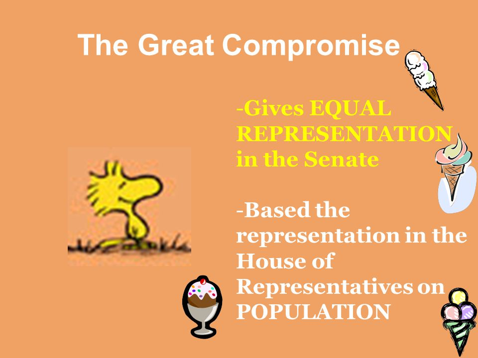 The Great Compromise -Gives EQUAL REPRESENTATION in the Senate -Based the representation in the House of Representatives on POPULATION
