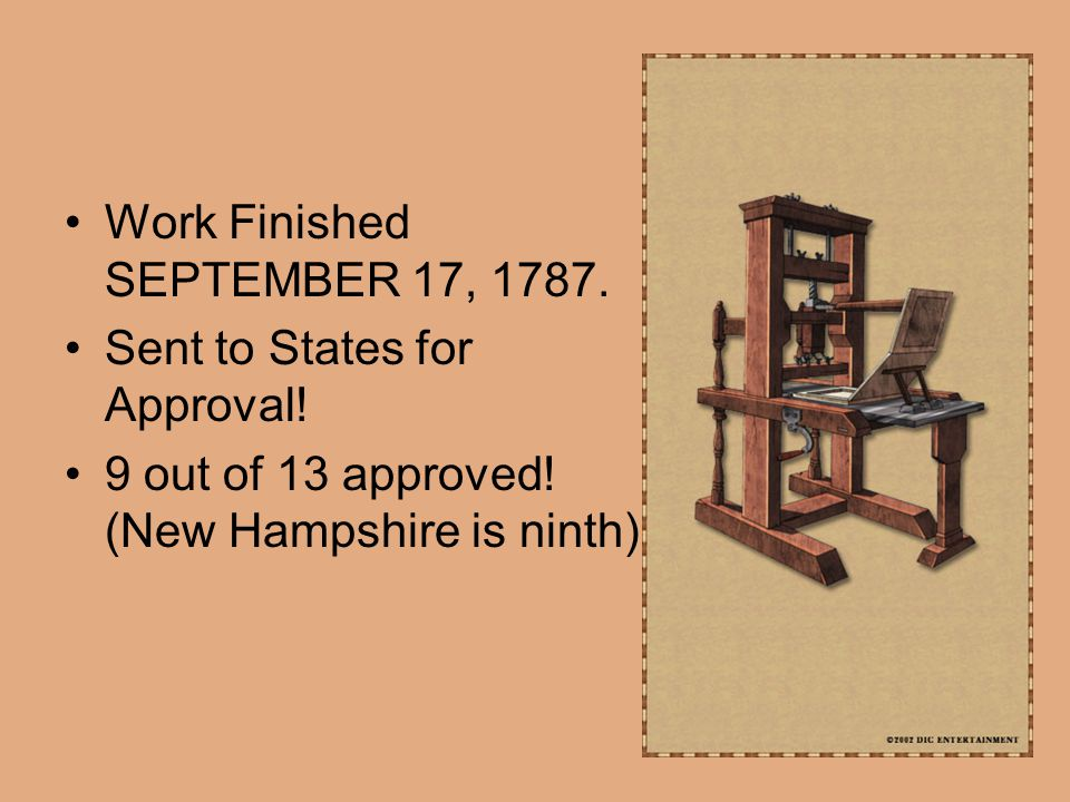Work Finished SEPTEMBER 17, 1787. Sent to States for Approval.