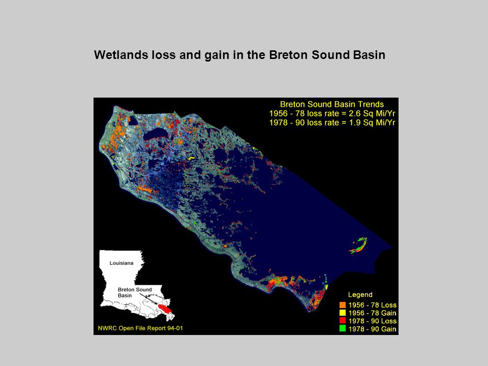 Wetlands loss and gain in the Breton Sound Basin