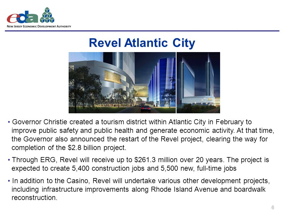 6 Revel Atlantic City Governor Christie created a tourism district within Atlantic City in February to improve public safety and public health and generate economic activity.